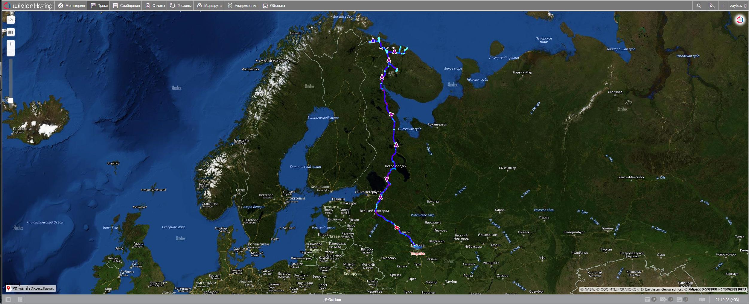 """Трек маршрута экспедиции """"По дорогам Заполярья"""" построенный с помощью ION Connect и сервиса LocMe"""